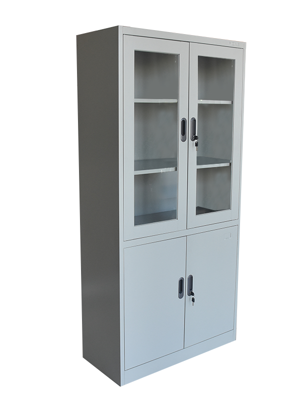 Cabinet 5 Shelf Top Swing Glass Doors_Lemari Besi 5 Rak Pintu Ayun Kaca Atas